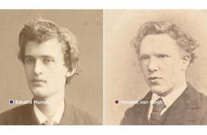 Foto van Vincent van Gogh en Edvard Munch.